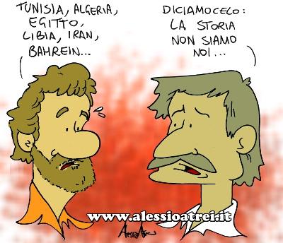 vignette satira rivoluzioni nord africa libia tunisia egitto bahrein siria iran italia mediterraneo crisi democrazia