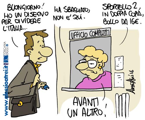 Vignette disegno per dividere l'italia Renzi PD CGIL