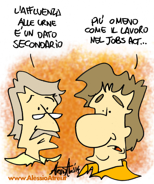 Affluenza dato secondario Matteo Renzi Jobs Act elezioni regionali emilia romagna vignette satira