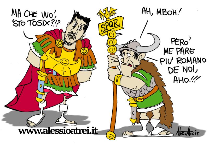 Vignette Satira Caricature Matteo Salvini Flavio Tosi Lega Nord Roma Scissione Veneto