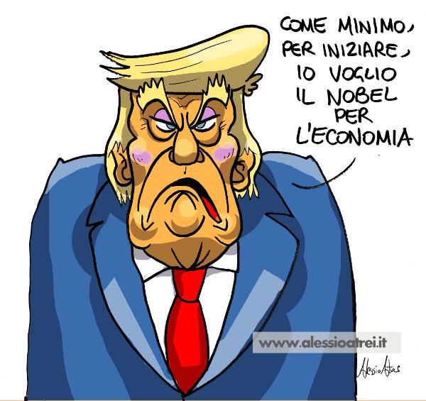 Donald Trump caricatura nobel economia