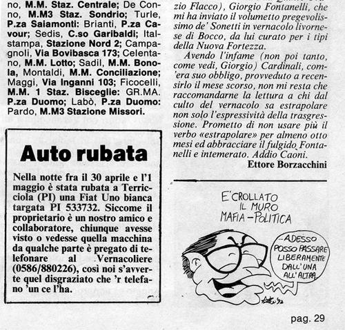 Andreotti vignetta vernacoliere 1993